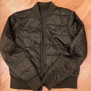 Dark olive green reversible bomber jacket